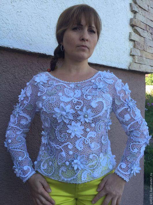 """Блузки ручной работы. Ярмарка Мастеров - ручная работа. Купить Блузка """"Джулия"""". Handmade. Комбинированный, блузка на заказ, белоснежный"""