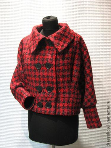 Верхняя одежда ручной работы. Ярмарка Мастеров - ручная работа. Купить Короткое полупальто. Handmade. Ярко-красный, пальто