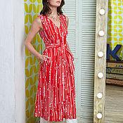 """Одежда ручной работы. Ярмарка Мастеров - ручная работа Льняное платье-жилет """"Айна"""", красное. Handmade."""