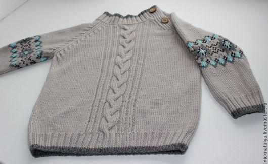 Одежда для мальчиков, ручной работы. Ярмарка Мастеров - ручная работа. Купить Кашемировый пуловер для мальчика. Handmade. Бежевый, гребенный кашемир