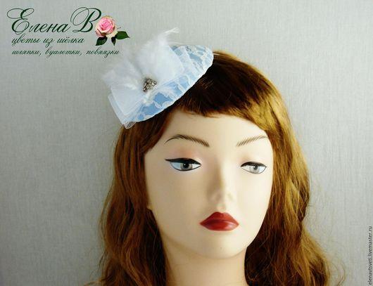 Шляпы ручной работы. Ярмарка Мастеров - ручная работа. Купить Шляпка «Перьевые облака». Handmade. Голубой, что подарить женщине, гипюр