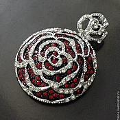 Материалы для творчества handmade. Livemaster - original item Pendant art. 3-13 voluminous Flower with red cubic Zirconia. Handmade.