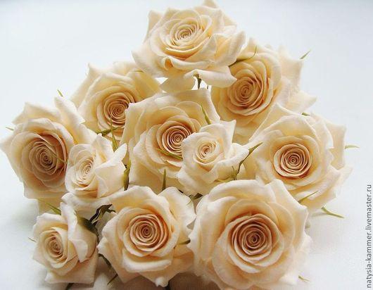 Свадебные украшения ручной работы. Ярмарка Мастеров - ручная работа. Купить Шпильки с розами цвета айвори. Handmade. Бежевый