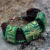 Украшения ручной работы. Ярмарка Мастеров - ручная работа браслет из полимерной глины зеленый. Handmade.