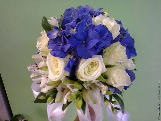 Букеты ручной работы. Ярмарка Мастеров - ручная работа. Купить Букет невесты бело-синий.. Handmade. Белый, гортензия, свадьба