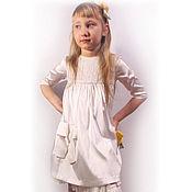Платье праздничное для девочки из атлас-тафты и гипюра