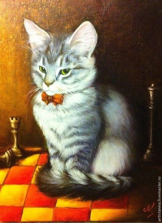 """Животные ручной работы. Ярмарка Мастеров - ручная работа. Купить """"Кот учёный"""". Handmade. Оранжевый, кот, котенок, шахматы, шахматист"""