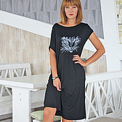Одежда handmade. Livemaster - original item Black dress with embroidery. Embroidered asymmetrical dress every day. Handmade.