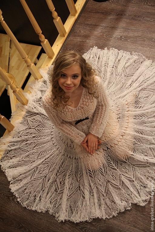 """Платья ручной работы. Ярмарка Мастеров - ручная работа. Купить Платье """"Снежность"""". Handmade. Белый, мохер с шелком, вязаные вещи"""