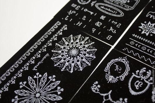 Аппликации, вставки, отделка ручной работы. Ярмарка Мастеров - ручная работа. Купить Бархатные термонаклейки, черные, 4 вида. Handmade.