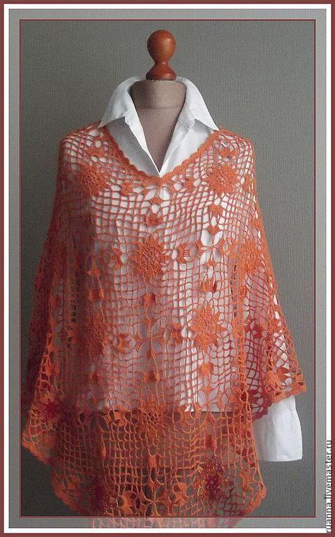 Оранжевое пончо вязаное крючком пончо пончо из мотивов Летнее пончо из цветочных мотивов.