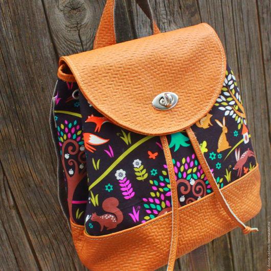 Купить детский рюкзачок, маленький кожаный рюкзак, красивый кожаный рюкзак, рыжий рюкзак с лисами. Мастер Сечкина Юлия http://www.livemaster.ru/v-dome-radosti