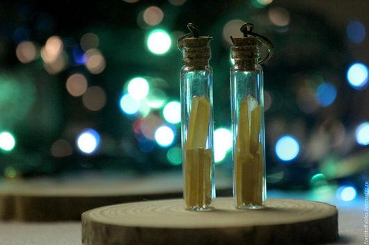 Серьги ручной работы. Ярмарка Мастеров - ручная работа. Купить Серёжки-колбочки с мини-кристаллами кварца.. Handmade. Баночка, стекло