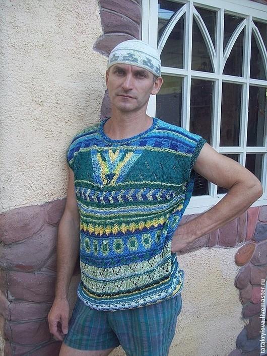 Для мужчин, ручной работы. Ярмарка Мастеров - ручная работа. Купить Летняя мужская футболка. Handmade. Синий, юноша