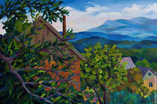 Пейзаж ручной работы. Ярмарка Мастеров - ручная работа. Купить Вид с крыши. Handmade. Горы, сад, крыши, небо, пейзаж