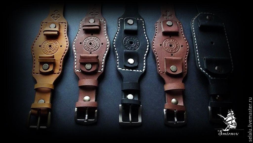 Ремень для часов кожаный ручная работа