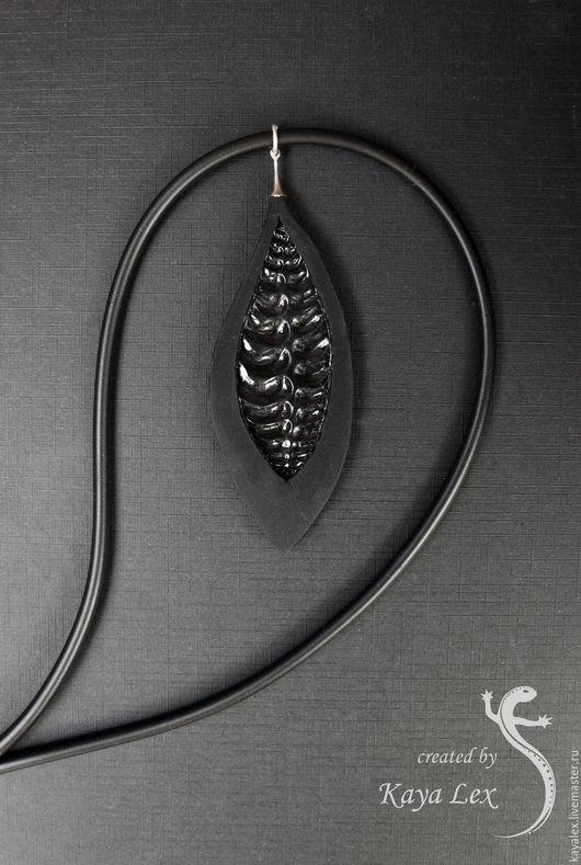 """Кулоны, подвески ручной работы. Ярмарка Мастеров - ручная работа. Купить Кулон """"Лист"""". Handmade. Черный, минимализм, полимерная глина"""