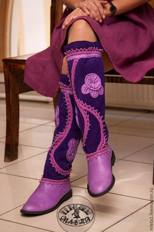 Обувь ручной работы. Ярмарка Мастеров - ручная работа. Купить сапоги кожаные с вязанием Южная ночь. Handmade. Фиолетовый, бисер