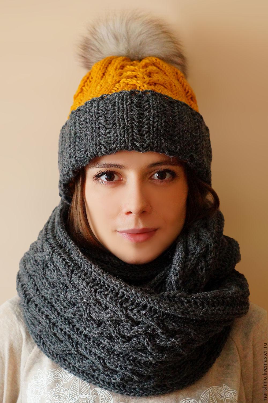 Вязание спицами шапка женская двухцветные