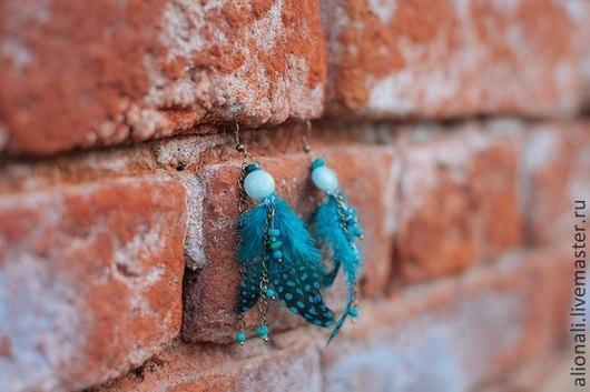 """Серьги ручной работы. Ярмарка Мастеров - ручная работа. Купить Серьги """"Крыло синей птицы"""" с натуральными камнями. Handmade. Бирюзовый"""