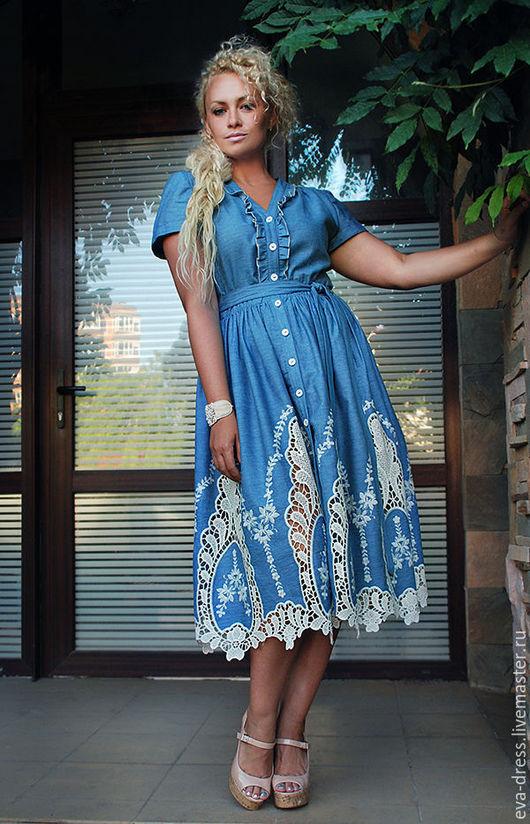 """Платья ручной работы. Ярмарка Мастеров - ручная работа. Купить Платье джинс шитье. Голубо-серое платье миди """"Голубая свежесть"""". Handmade."""