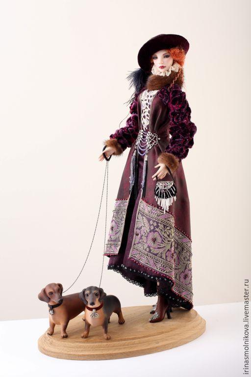 Коллекционные куклы ручной работы. Ярмарка Мастеров - ручная работа. Купить Вечерняя прогулка. Handmade. Коричневый, натуральная кожа