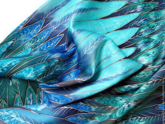 """Шарфы и шарфики ручной работы. Ярмарка Мастеров - ручная работа. Купить Батик шарф  """"Синяя птица"""".. Handmade. Батик"""