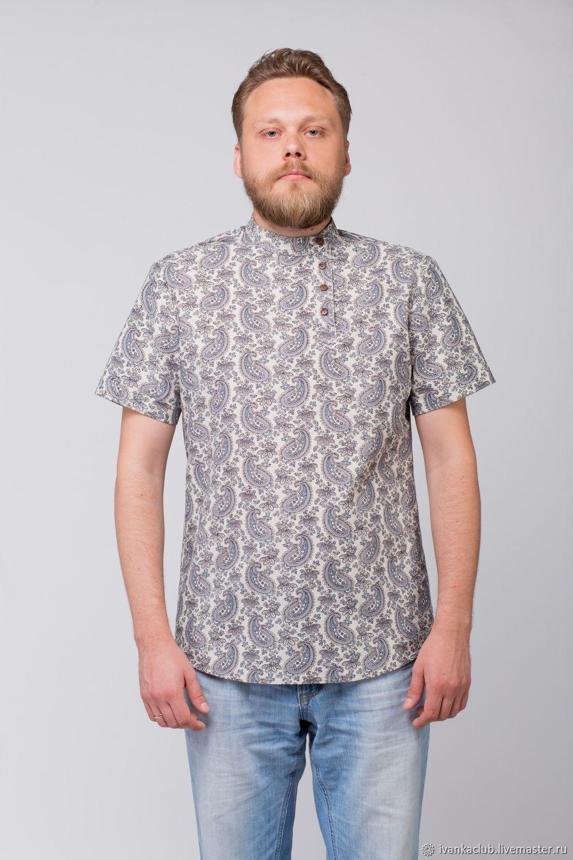 Men's linen shirt Cucumbers, Mens shirts, Omsk,  Фото №1