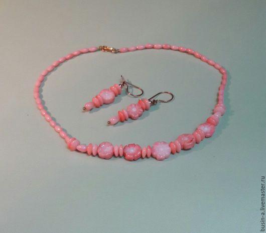 Украшения ручной работы. Колье и серьги. коралл розовый - `Танцы на воде`. Ярмарка мастеров.