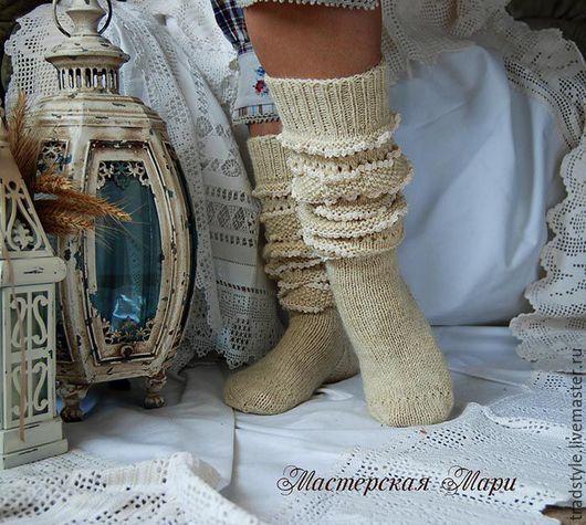 Носки, Чулки ручной работы. Ярмарка Мастеров - ручная работа. Купить Высокие шерстяные носки (гольфы) с ручным кружевом. Handmade.