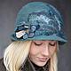 """Шляпы ручной работы. Ярмарка Мастеров - ручная работа. Купить Шляпка """"Туман в тропическом лесу"""". Handmade. Валяние, шляпка, туманный"""