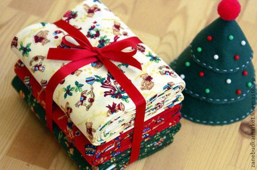 """Шитье ручной работы. Ярмарка Мастеров - ручная работа. Купить Ткань хлопок """"Новогодняя"""". Handmade. Хлопок, красный, хлопок 100%"""