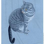 Картины и панно ручной работы. Ярмарка Мастеров - ручная работа Картина Соседский Кот рисунок карандашом графика серый голубой. Handmade.