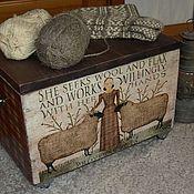 """Для дома и интерьера ручной работы. Ярмарка Мастеров - ручная работа Ящик- тумбочка-столик на колёсиках""""Ручная работа"""". Handmade."""
