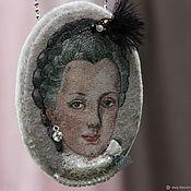 Украшения handmade. Livemaster - original item Pendant and brooch portrait of Maria. Handmade silk embroidery. Handmade.