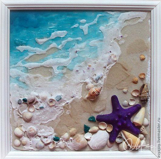 Пейзаж ручной работы. Ярмарка Мастеров - ручная работа. Купить «Морская волна». Handmade. Бирюзовый, песок, панно в подарок