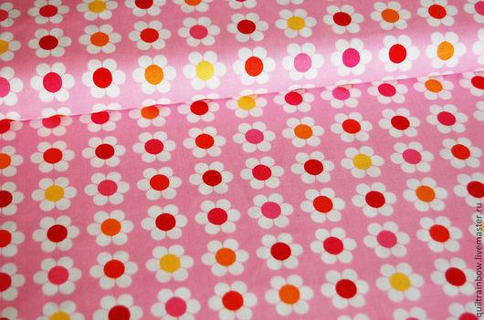 """Шитье ручной работы. Ярмарка Мастеров - ручная работа. Купить Хлопок """"Маргаритки"""". Handmade. Хлопок, ткань для рукоделия, квилтинг, розовый"""