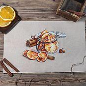 Картины и панно handmade. Livemaster - original item Cross-stitch Jar of oranges in sugar. Handmade.