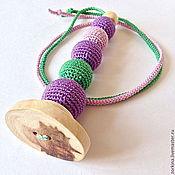 Куклы и игрушки ручной работы. Ярмарка Мастеров - ручная работа Игрушка для малыша грызунок-палочка (прорезыватель) на длинном шнурке. Handmade.