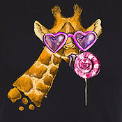 Одежда handmade. Livemaster - original item T-shirt  hand painted giraffe and caramel. Handmade.