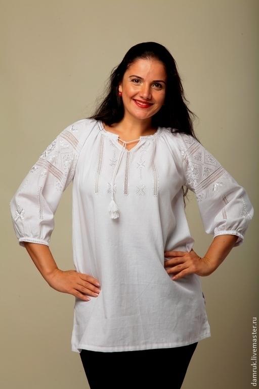 Этническая одежда ручной работы. Ярмарка Мастеров - ручная работа. Купить Вышиванка женская. Белым по белому.  Ручная вышивка.. Handmade.
