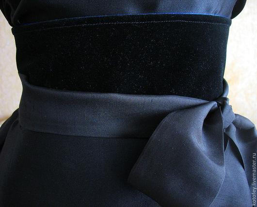 """Пояса, ремни ручной работы. Ярмарка Мастеров - ручная работа. Купить Пояс """"Бархатный"""" (двусторонний). Handmade. Однотонный, синий пояс"""