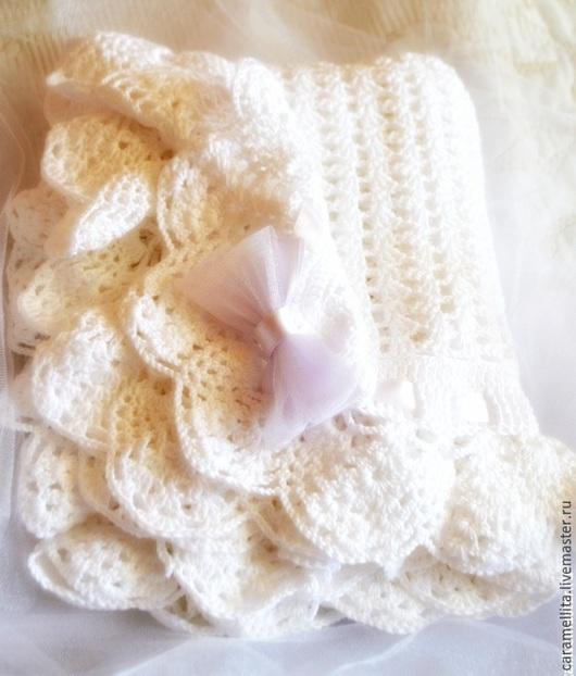 Пледы и одеяла ручной работы. Ярмарка Мастеров - ручная работа. Купить Плед для новорожденного авторской работы Charlotte. Handmade. Белый
