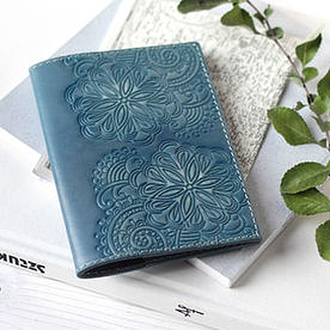 Stationery handmade. Livemaster - original item Passport cover made of leather with embossed