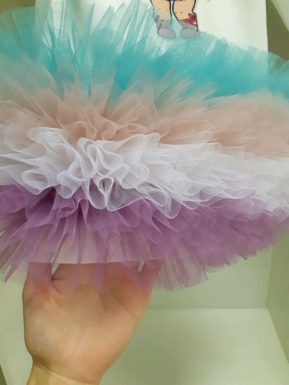 Нарядное платье для девочки с принтом кукла ЛОЛ фатиновое пышное