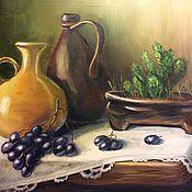 Картины и панно ручной работы. Ярмарка Мастеров - ручная работа Натюрморт с кувшинами и виноградом. Handmade.