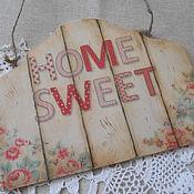 """Для дома и интерьера ручной работы. Ярмарка Мастеров - ручная работа Вывеска - панно """"HOME SWEET"""". Handmade."""