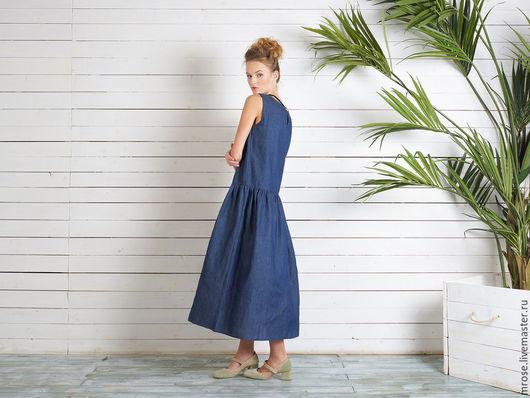 """Платья ручной работы. Ярмарка Мастеров - ручная работа. Купить Платье из легчайшей джинсы """"Марина"""". Handmade. Тёмно-синий, сарафан"""