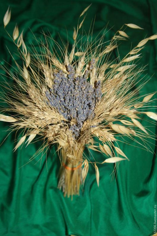 Свадебные цветы ручной работы. Ярмарка Мастеров - ручная работа. Купить Букет лаванды с пшеницей и овсом. Handmade. Синий