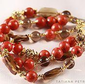 Украшения handmade. Livemaster - original item Coral bracelet elegance - coral, Topaz /smoky quartz. Handmade.